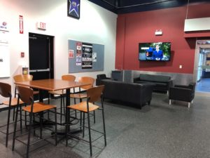 Our student lounge is a flexible space where student-athletes can come together to study, collaborate or order from the cafeteria.