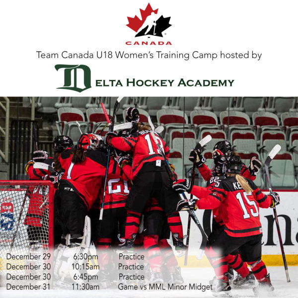 The Delta Hockey Academy is thrilled to host Canada's National Women's Under-18 Team for their final training camp before they head to Obihiro, Japan in January for the 2019 IIHF U18 Women's World Championships. Stop by Planet Ice Delta to watch the camp from December 29 to December 31. Go Canada!