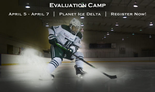 "Interested in playing at the Delta Hockey Academy next season? Register now for our Evaluation Camp under the ""Register"" tab."